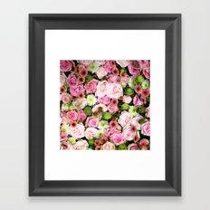 Bed of Roses Pink White Framed Art Print