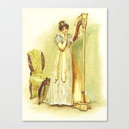 Harp, old book illustration, vintage poster Canvas Print