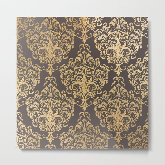 Gold swirls damask #7 Metal Print