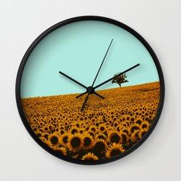 Sunflowers in green Wall Clock