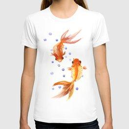Goldfish, two fish, Koi Asian Style watercolor art, feng shui T-shirt