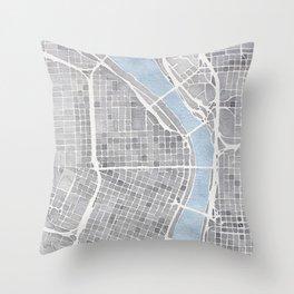 Portland Oregon watercolor city map art Throw Pillow