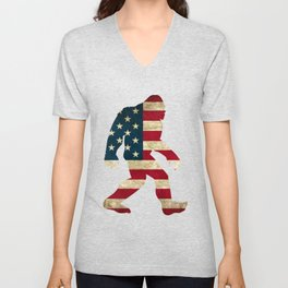 Bigfoot american flag Unisex V-Neck