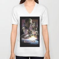 battlestar V-neck T-shirts featuring BATTLESTAR GALACTICA POSTER by tanman1
