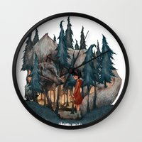 red riding hood Wall Clocks featuring Little Red Riding Hood by Anne Lambelet