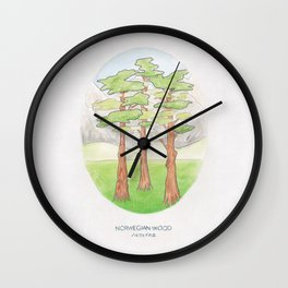Haruki Murakami's Norwegian Wood // Illustration of a Forest and Mountains in Pencil Wall Clock