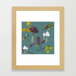 Autum mushroom romance Framed Art Print