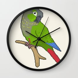 Pixel / 8-bit Parrot: Green-cheek Conure Wall Clock