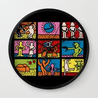keith haring Wall Clocks featuring Keith Haring & star W.2 by le.duc