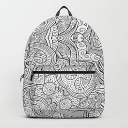 Abstract ethnic hand drawn line art seamless pattern Backpack