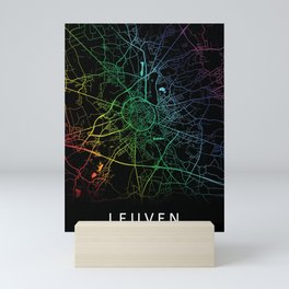 Leuven, Belgium, City, Map, Rainbow, Map, Art, Print Mini Art Print