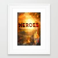 heroes Framed Art Prints featuring HEROES by Michael Scott Murphy