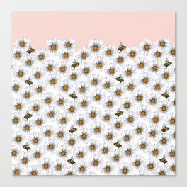 Bees on Daisies - Flora & Fauna Canvas Print