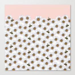 Bees on Daisies - Flora & Fauna Canvas Print