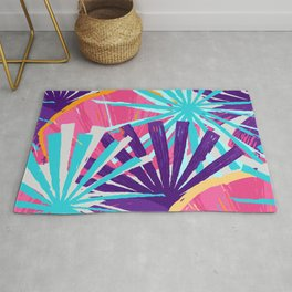 Abstract exotic palm leaves in vivid colors Rug