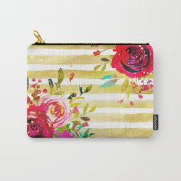Flowers & Stripes 2 Carry-All Pouch