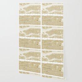 Manhattan NYC map gold Wallpaper