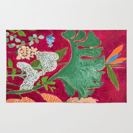 Fuchsia Pink Floral Jungle Painting Rug