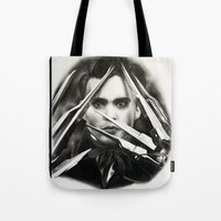 edward scissorhands Tote Bags featuring Edward Scissorhands by Whitney Wilkinson