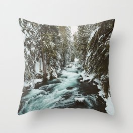 The Wild McKenzie River Portrait - Nature Photography Throw Pillow