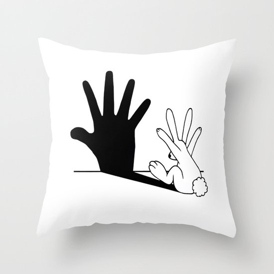 Rabbit Hand Shadow Throw Pillow
