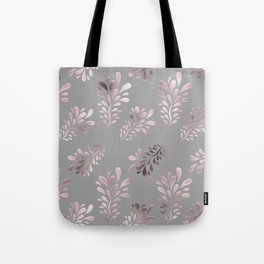 Pink Leaves on Gray Silver Background Tote Bag
