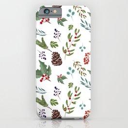 Holly berry,mistletoe,eucalyptus,pine one Christmas festive pattern  iPhone Case