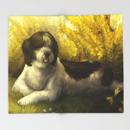 Jake: Sheepdog Portrait Throw Blanket