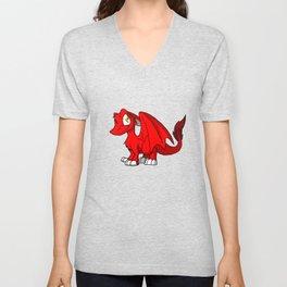 Red SD Furry Dragon Unisex V-Neck