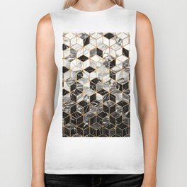 Marble Cubes - Black and White Biker Tank
