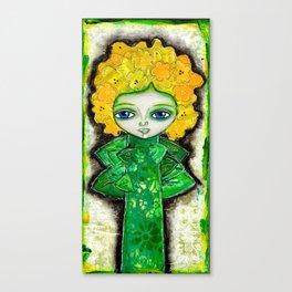 Mixed Media Flower Girl 1 Yellow Canvas Print