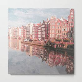 Colourful Amsterdam City in The Netherlands | Travel Photography Metal Print