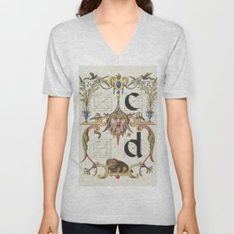 Guide for Constructing the Letters c and d from Mira Calligraphiae Monumenta or The Model Book of Ca Unisex V-Neck