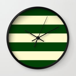 Dark Emerald Green and Cream Large Stripes Wall Clock