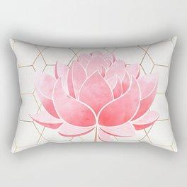 Lotus Blossom - Blush Pink and Metallic Gold Rectangular Pillow
