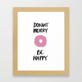 Donut Worry Be Happy Illustration Framed Art Print