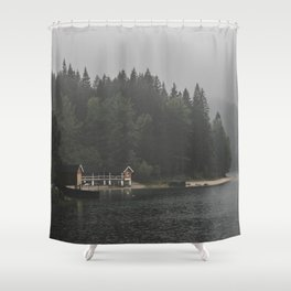Foggy mornings at the lake II - landscape photography Shower Curtain