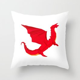 Origami Red Dragon Throw Pillow