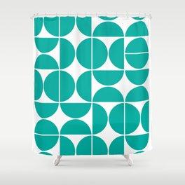 Mid Century Modern Geometric 04 Turquoise Shower Curtain