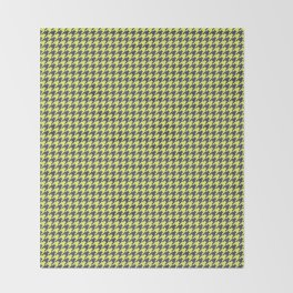 Yellow Grey Houndstooth Pattern Throw Blanket