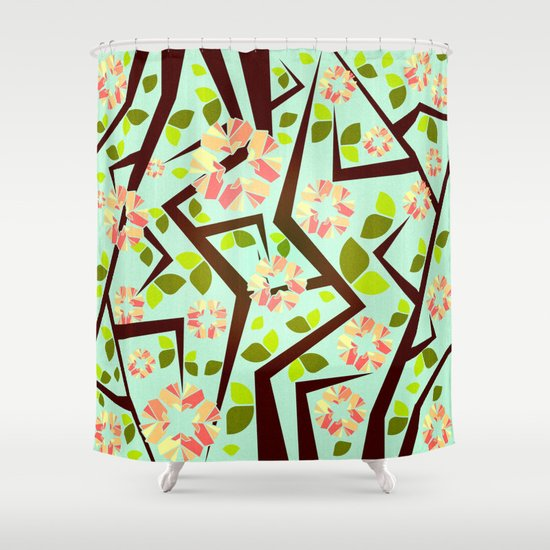 Blooming Trees Pattern III Shower Curtain