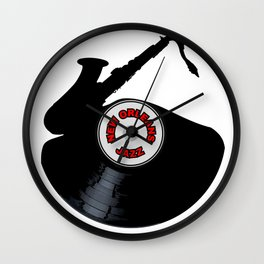New Orleans Jazz Music Silhouette Record Wall Clock
