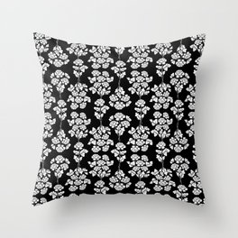 Floral pattern black Throw Pillow