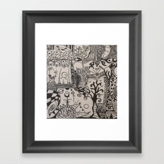 black and doodle 3 Framed Art Print