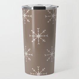 Christmas Pastel Brown Pink Geometric Snowflakes Travel Mug