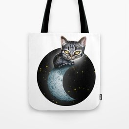 CAT ON THE MOON Tote Bag