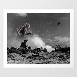 old time godzilla world war ii art print - Godzilla Pictures To Print