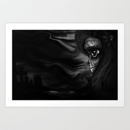 Black and white Skully Art Print