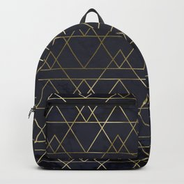 Modern Deco Gold and Marble Geometric Mountains on Navy Blue Backpack