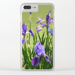 Wild Blue Flag Irises Clear iPhone Case